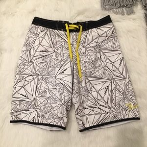 Diamond Jet Pilot Swim - Diamond Jet Pilot White Diamond Print Board Shorts
